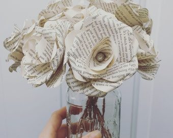 Paper Book Roses, Book Roses, Book Flower, Paper Rose Bouquet ,Repurposed Book, Set of 10 Book Flowers, Wedding Decoration, Home Décor,