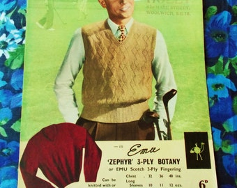Vintage Emu Knitting Pattern - Pattern no. 179 - Gent's Classic Style Sports Pullover - 1950's - used