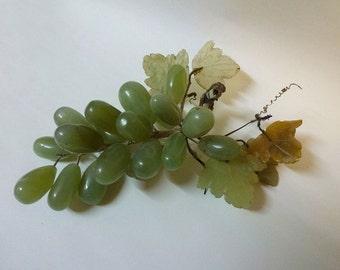 Antique RARE Chinese Jade GRAPES fruit green semi precious stone
