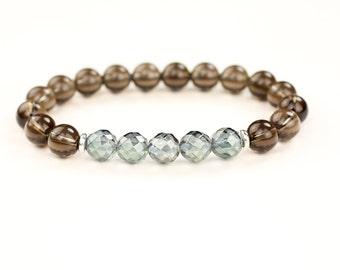 Aqua Aura Bracelet. Stress Relief. Smokey Quartz Bracelet. Reiki Energy. Aura Quartz bracelet. Calming bracelet. Womens gift. Smoky Quartz