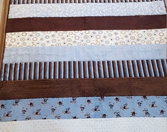 Minky Quilt, Baby Quilt, Blue Baby Quilt, Minky Strip Quilt, Blue and Brown Quilt, Cuddle Quilt,