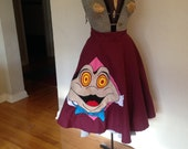 Mr. Toad's Wild Ride- 1950s Style 100% Cotton Twill Full Circle Skirt with Handmade Felt Applique