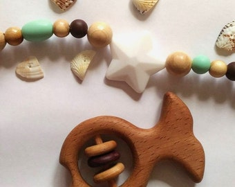 Wooden toy. Baby Rattle. Wooden Teether. Organic Wooden Teether. Montessori wood teether