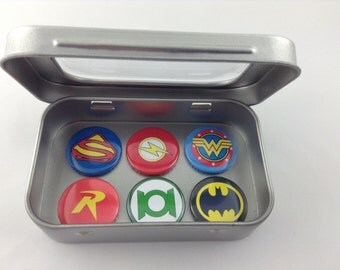DC Comic Hero Fridge Magnets in Gift Tin. 6 x 25mm magnets