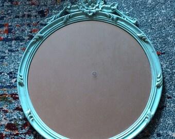 Vintage Robins Egg Blue Round Ornate Mirror