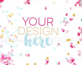 Pink Spilled Confetti Styled Desktop 2, Styled Stock Photography, Feminine Styled Mockup, Product Background Photo, Desk Mockup