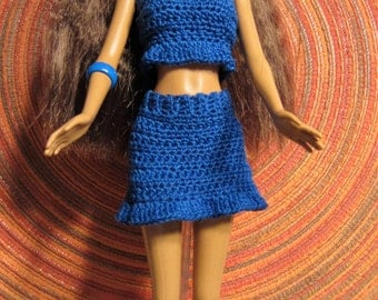 Barbie Doll Sporty Blue Skirt and Top, with Matching Shoes, Bracelet, and Hair Clips
