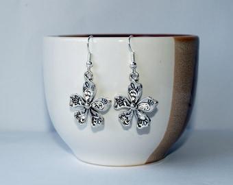 Flower earrings Flower charms earrings Cute silver jewelry Gift for her Dangle earrings Flower ornament jewelry Floral earrings