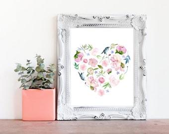 Pink Floral Nursery Print- Blush Pink Flower Print- Little Girls Room Flower Art- Gift for Little Girl- Christmas Gift for Girls- Girls Room