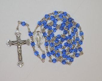 Sapphire Swarovski Crystal Rosary
