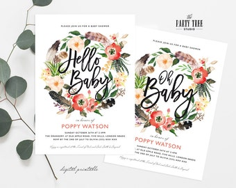 Boho Baby Shower Invitation , Oh Baby Invitation , Hello Baby Printable Baby Shower Invitation , 5x7 , Modern Baby Shower , Girl Baby Shower