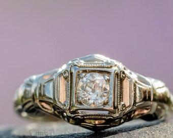 18k Art Deco Engagement Ring - White Gold - Vintage Antique Diamond Engagement Ring