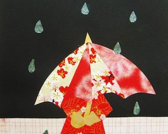 "Paper Illustration | Papercollage | paper art (print) - ""Red Umbrella"""