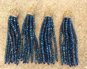 gold/sapphire pave crystal tassel jewelry making wholesale boho supplies trendy