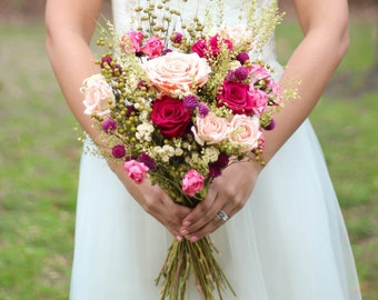 Boho Bouquet, Wedding Bouquet, Dried Flowers, Peach and Pink Rose Bouquet