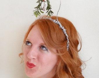 christmas headband adult, mistletoe headband, tacky sweater party, christmas hair accessories, mistletoe hair, silver christmas hair band