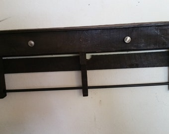 Rustic Espresso Towel Rack with  rustic knobs made from pallet wood!