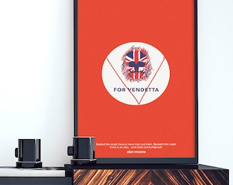 V for Vendetta: Illustration poster, Matte and Giclee Art Prints in A3 A2 sizes. Wall Art, Home Decor,London Prints