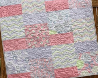 True Luck Quilt, Baby Girl Quilt, Pink Purple Violet Gray Lim Green, Baby Quilt, Floral Bedding, Crib Quilt Nursery Bedding, Handmade, Moda