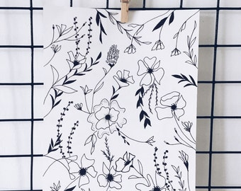 Black and White Botanical Print 01