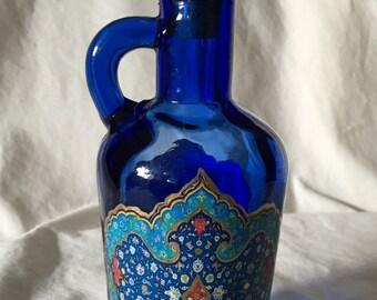OOAK Middle Eastern Inspired Decoupaged Blue Glass Bottle