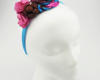 Headband (pink, blue, brown, pearl beads)