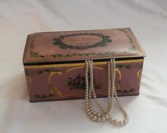 1930s Victorian / Shabby Chic Lilac Louis Sherry Hinged Candy Tin / Jewelry Box / Trinket Box