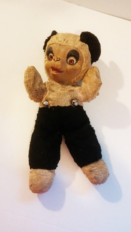Antique Early 1900s Gund Rubber Face Stuffed Animal Panda Bear