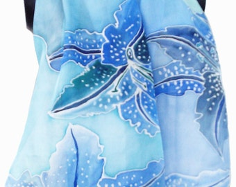 Hand Painted Silk Scarf - Orchids, 140 x 40 cm (55 x 15, 5) inches