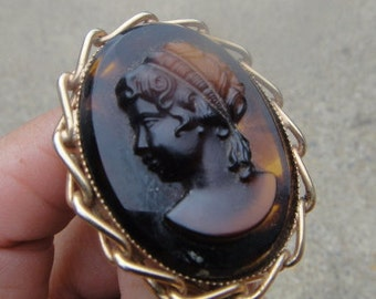 vintage cameo girl  brooch, amber cameo brooch pin , Jewelry, vintage Jewelry Brooch,Victorian Brooch, estate jewelry