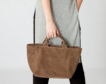 Medium Leather tote, Beige suede leather bag, Beige leather bag, Leather tote bag, Leather bag woman, Suede leather purse, Beige NAYRA tote
