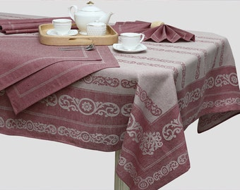 Linen Tablecloth with 6 Napkin Set Maroon Fancy Valentines Dinner Table Linens Rustic Wedding Jacquard Woven Textile Dark Red Home Decor
