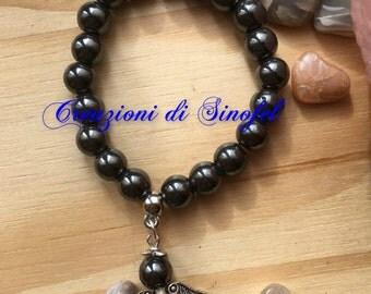 Hematite bracelet with Hematite Angel