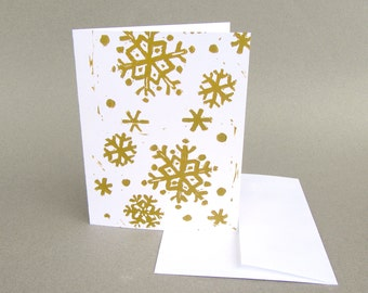 Handmade Christmas Card, Holiday Card, Christmas Card, White Paper Gold Ink, Snowflake Card, Hand Printed Linoprint, Lino Cut Design