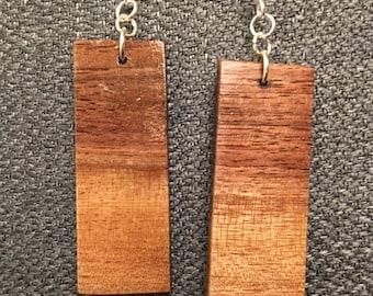 Natural Ombre Effect Walnut Pillar Earrings