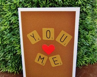 """Handmade Scrabble """"You + Me"""" Card (Original)"""