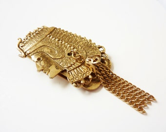 Vintage Egyptian Revival Money Clip Gold 1920s