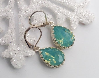Mint Green Pacific Opal Swarovski and Sterling Silver  Earrings