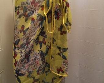 Yellow Butterfly Polyester Beachwrap Swimsuit Coverup Sarong Wrap
