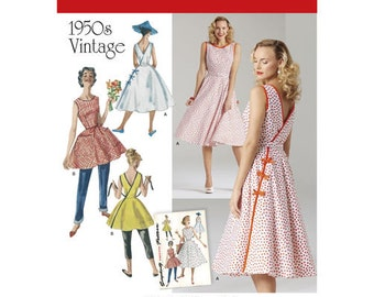 Sewing Pattern for 1950's Vintage Womens Dress in two Lengths, Simplicity 8085, New Pattern from 1950's Simplicity Archives,