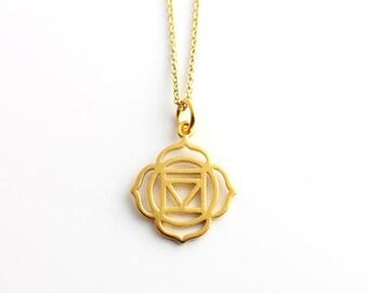 Gold Base Chakra Necklace, Base Chakra Pendant, Root Chakra Necklace, Root Chakra, Spiritual Jewellery, Yoga Jewellery, Vegan Jewellery