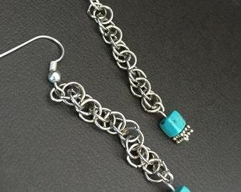 Chain Mail Turquoise Howlite Dangle Earrings