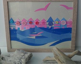 Beach hut and sea frame