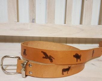 "38""-42"" Leather Belt Australian Animals"