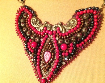 collar chest coral beads and fantasies