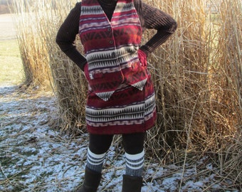 Southwestern Skirt and Vest Set by Paul Harris, Vintage Size 12, Brown, Red, Plum,