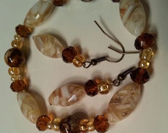Neutral Bracelet and Earrings