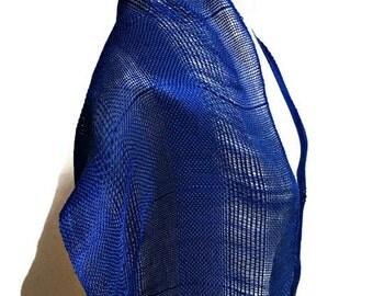 Handwoven Silk Scarf in Navy, Summer Shawl, Woman's Stole, Light-weight and Soft Spun Silk