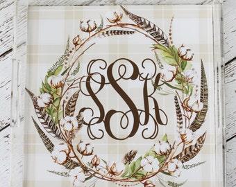 Farmhouse Cotton Wreath Monogrammed Lucite Tray