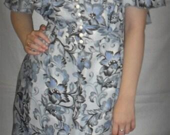 vintage , Dress, flowers, 1970,gray, dense, 1980,Dress,   orange and green wool, wool dress ,1970,